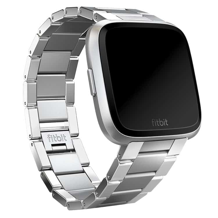Fitbit Versa Tapered Metal Links Silver Band Main