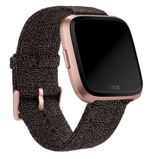 Fitbit Versa Black Rose Gold Metallic Knit Band Main