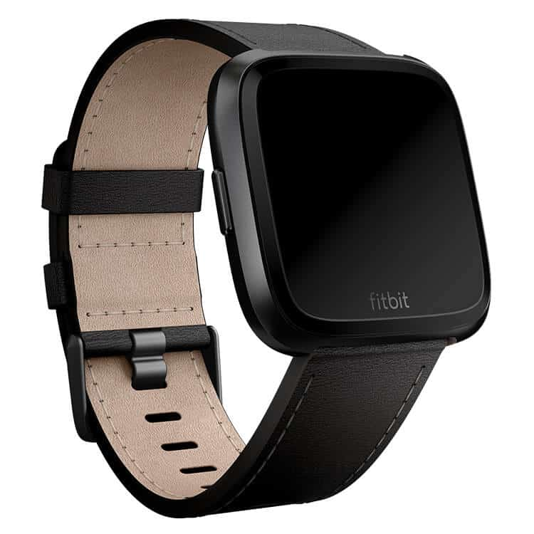 Fitbit Versa Black Stitch Leather Band Main