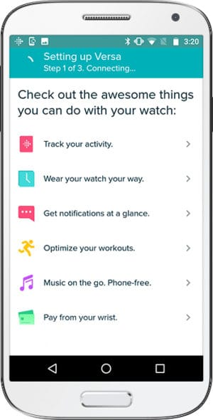 How to set up Fitbit Versa Android Connecting