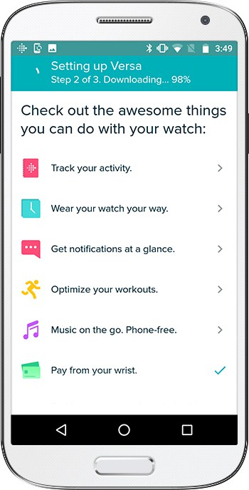 How to set up Fitbit Versa Android Downloading