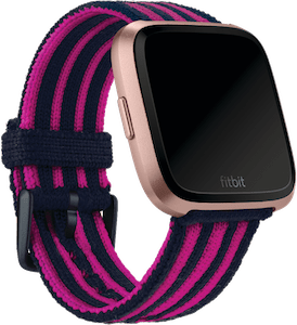 Fitbit Versa Stripe Knit Band Navy Pink