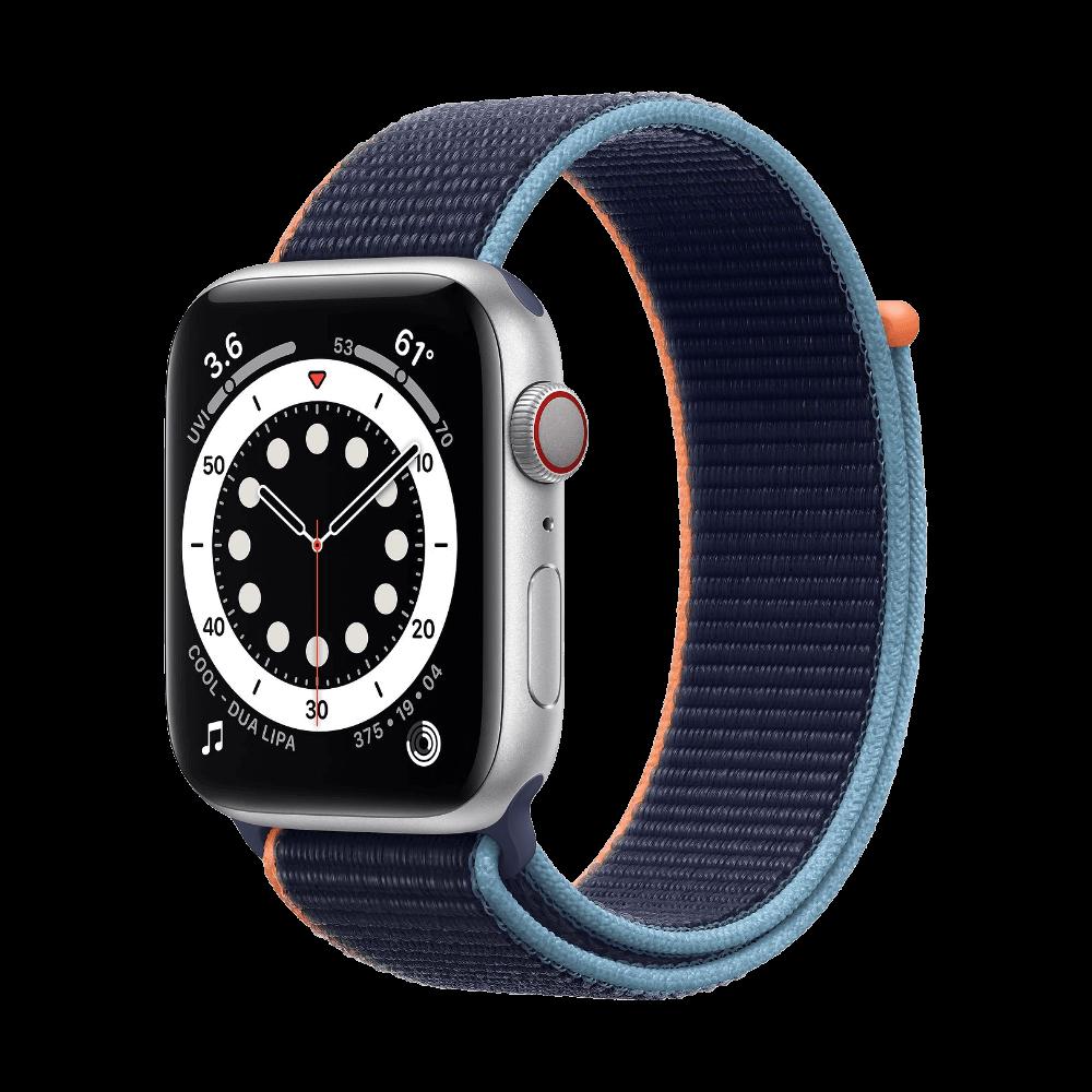 Apple Watch SE Cellular 44mm Silver Aluminum Deep Navy Sport Loop