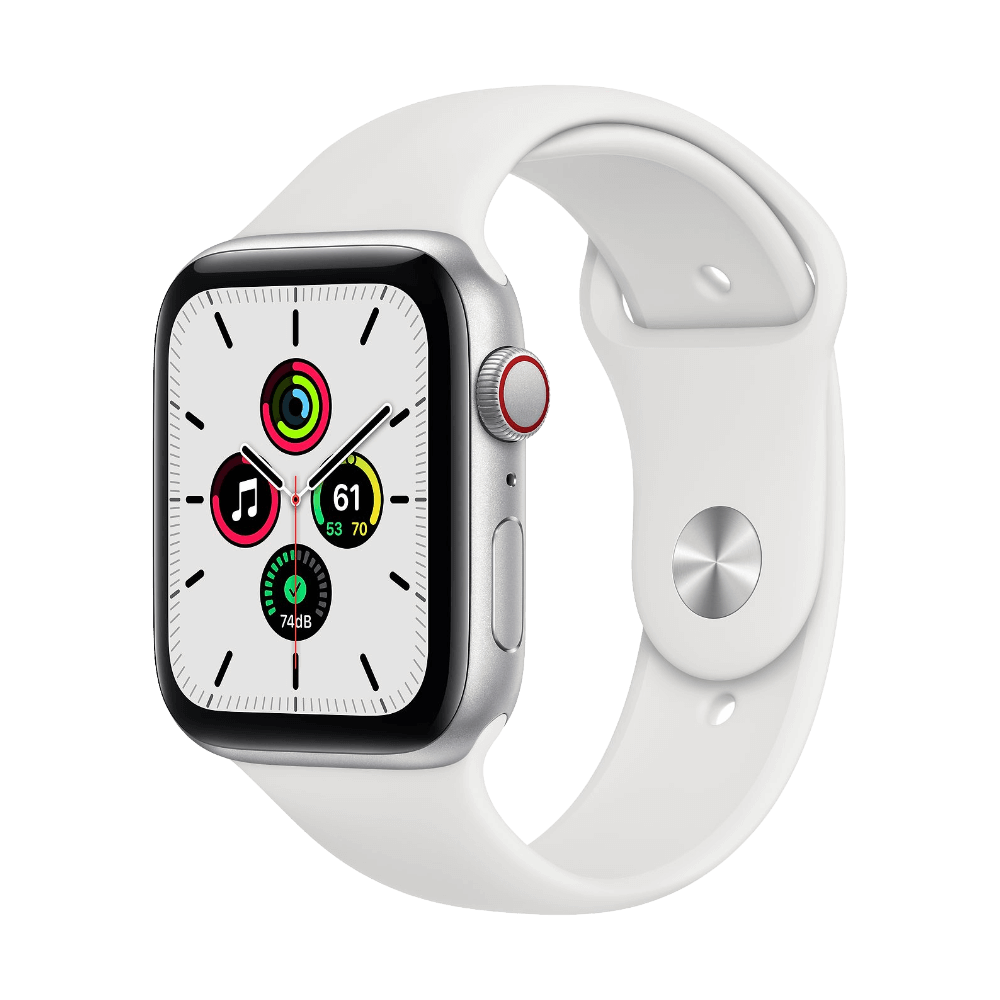 Apple Watch SE Cellular 44mm Silver Aluminum White Sport Band