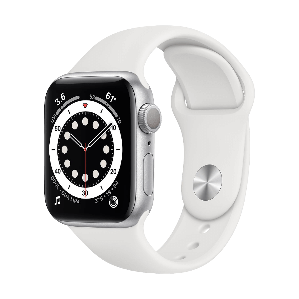 Apple Watch Series 6 40mm Silver Aluminum White Sport Band