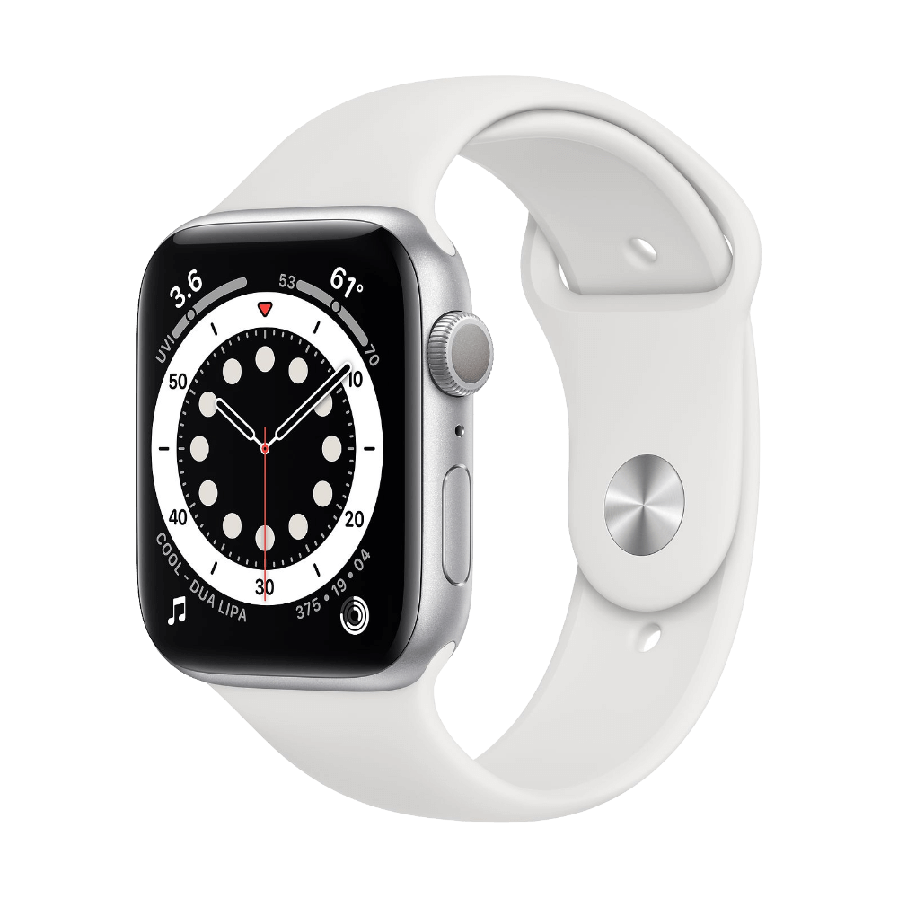 Apple Watch Series 6 44mm Silver Aluminum White Sport Band