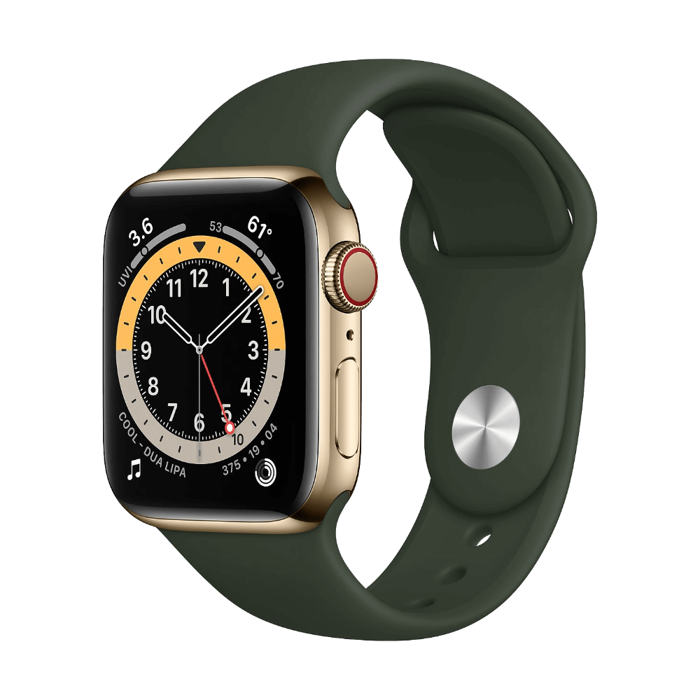 Apple Watch Series 6 Cellular 40mm Gold Stainless Steel Cypress Green Sport Band