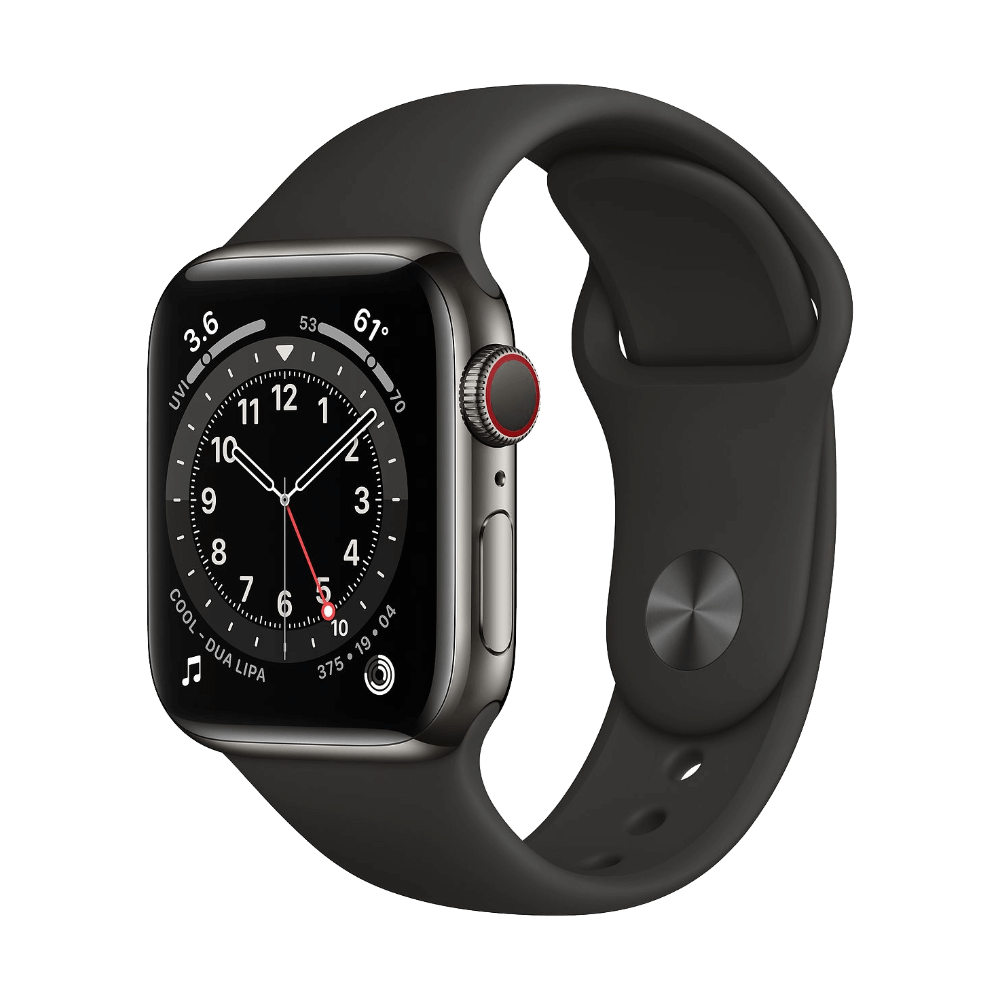 Apple Watch Series 6 Cellular 40mm Graphite Stainless Steel Black Sport Band