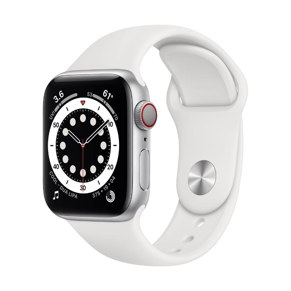 Apple Watch Series 6 Cellular 40mm Silver Aluminum White Sport Band