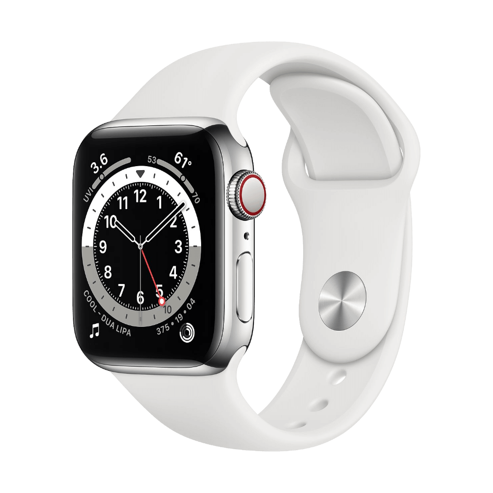 Apple Watch Series 6 Cellular 40mm Stainless Steel White Sport Band
