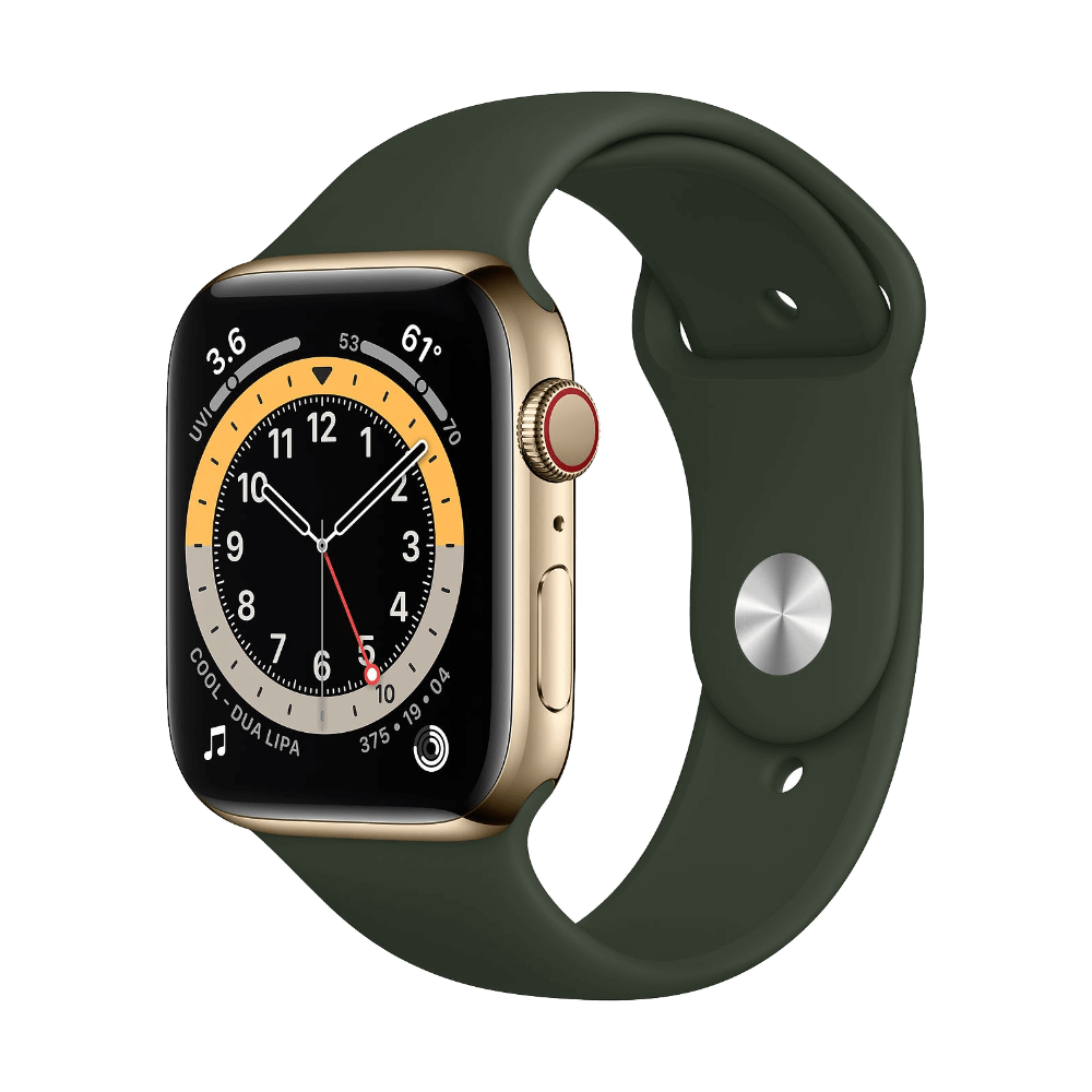 Apple Watch Series 6 Cellular 44mm Gold Stainless Steel Cypress Green Sport Band