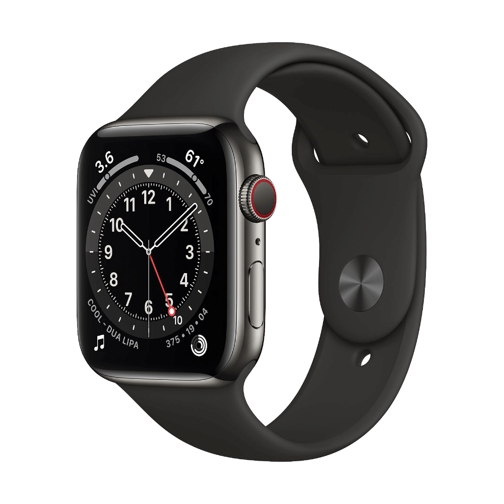 Apple Watch Series 6 Cellular 44mm Graphite Stainless Steel Black Sport Band