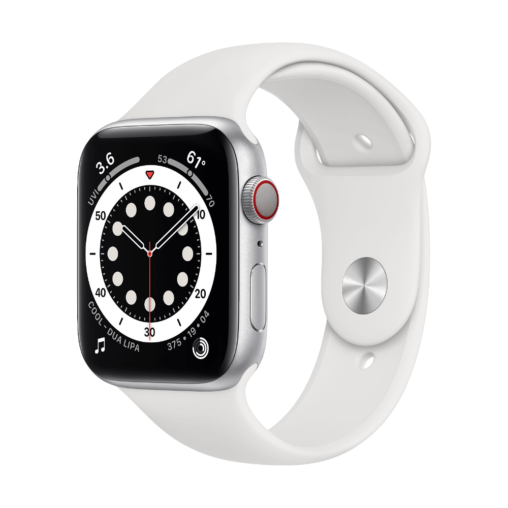 Apple Watch Series 6 Cellular 44mm Silver Aluminum White Sport Band