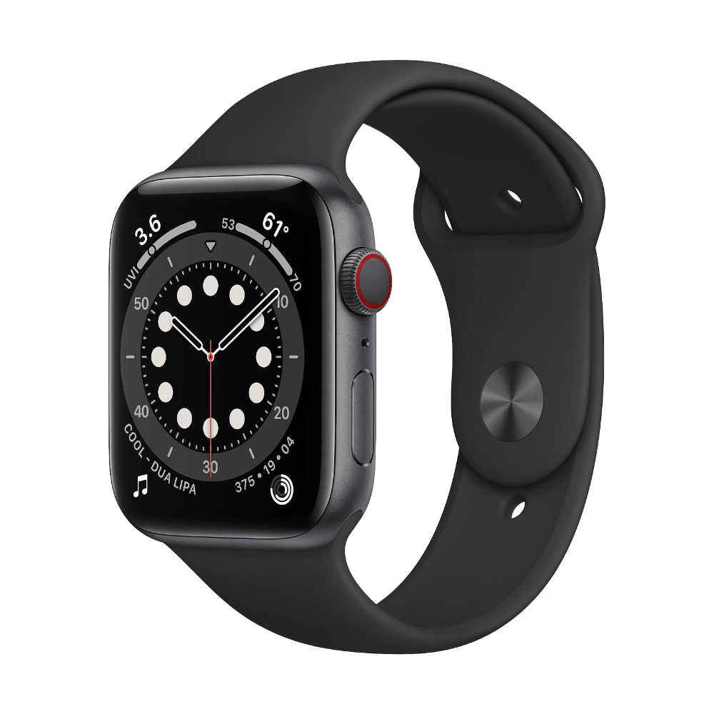 Apple Watch Series 6 Cellular 44mm Space Gray Aluminum Black Sport Band