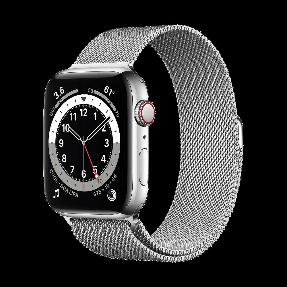 Apple Watch Series 6 Cellular 44mm Stainless Steel Silver Milanese Loop