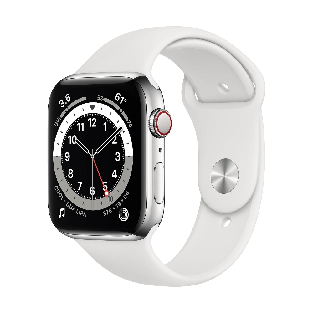 Apple Watch Series 6 Cellular 44mm Stainless Steel White Sport Band